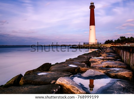 Lovely evening sky at Barnegat lighthouse state park, New Jersey. Long exposure background