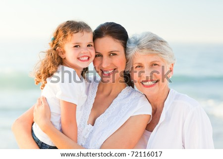Lovely family at the beach
