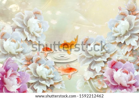 Lovely five white flowers and two pink flowers with three fishes jumping from the water for wall, TV backdrop, or receptionist backdrop decoration. 3D rendering