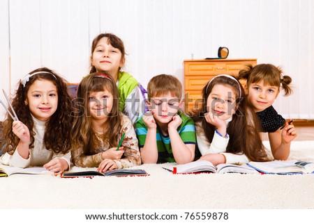 Lovely friends team reading books