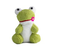 lovely frog doll isolate on white background with clipping,selection,paths