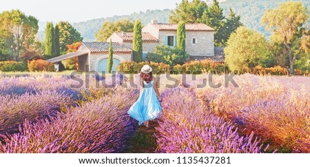 Lovely girl dressing in blue boho chic dress and straw hat walking  amazing blooming field of lavender in Provence, France. Panoramic view. Post production photo in traditional Provencal pastel tones. Stock photo ©