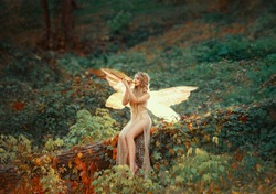 lovely girl druid with blond long hair, sits on a fallen tree, dressed in a gorgeous beige dress with open slim legs, transforming into a light forest butterfly, flashing on a wooden pipe alone.