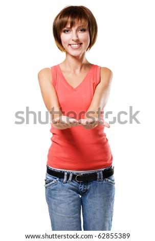 Lovely girl holding up emty hands, white background