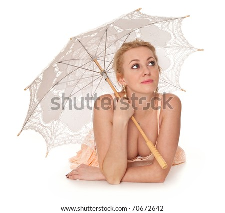 Lovely girl with umbrella isolated on a white background