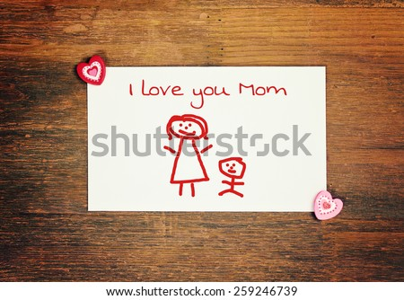 lovely greeting card - happy Mothers day - matchstick man