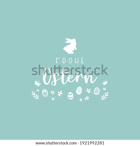 Lovely hand drawn easter design with text in german 'Happy Easter' cute hand drawn bunnies, eggs and decoration  Stockfoto ©