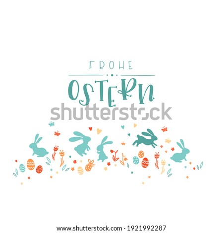 Lovely hand drawn easter design with text in german 'Happy Easter' cute hand drawn bunnies, eggs and decoration  Foto stock ©