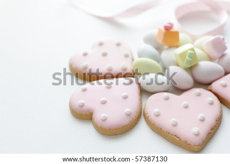 Lovely heart icing cookies and candy
