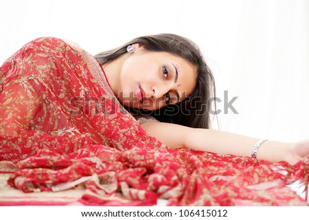 Lovely indian woman with red bridal saree