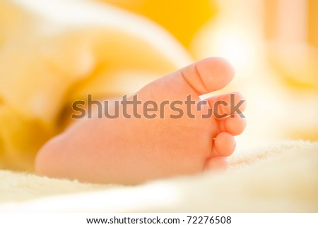 Lovely infant foot. The baby is  three months old.