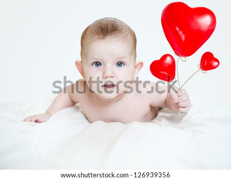 Lovely Little baby Valentine, gives his hearts