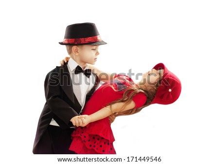Lovely little boy and girl dancing Isolated on white background