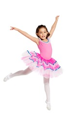 lovely little girl, dressed as a ballerina, jumping, isolated on white background