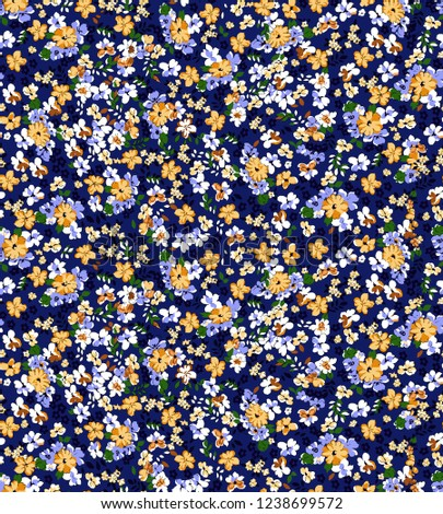Lovely Love Little Tiny Small Blue Yellow  Green Violet Rose Flowers on Floral Parlement Seamless Repeating  Background Artistic Wallpaper Pattern for Valentine's Day Baby Bridal Shower Chrismas