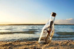 lovely message in bottle at the coast