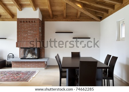 lovely new house, modern furniture, dining table