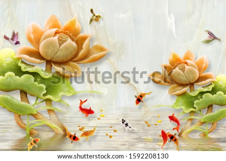 Lovely orange lotus flower with nine fishes jump from the water bring lucky to our home for wall, TV backdrop, or receptionist backdrop decoration. 3D rendering