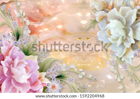 Lovely pearl pink and white flower with pearl orange background for wall, TV backdrop, or receptionist backdrop decoration. 3D rendering