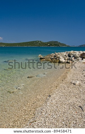 Lovely pebble beach in Betina