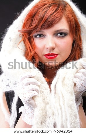 lovely redhead - white glove warm scarf Young beautiful red haired woman blue eye