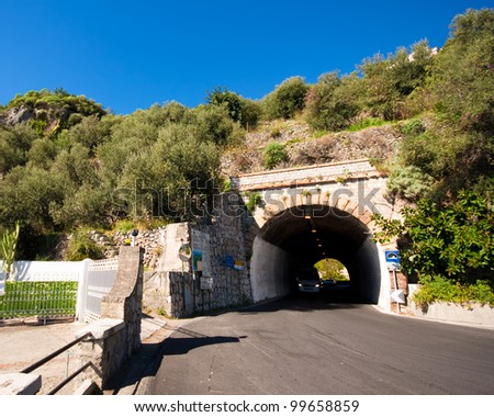 Lovely road and tunnel along the Amalfi coast in Italy
