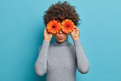 Lovely romantic young woman with flowers in front of eyes, keeps lips rounded, holds orange gerbera daisy, dressed in grey turtleneck, blue background, has spring mood, enjoys pleasant smell