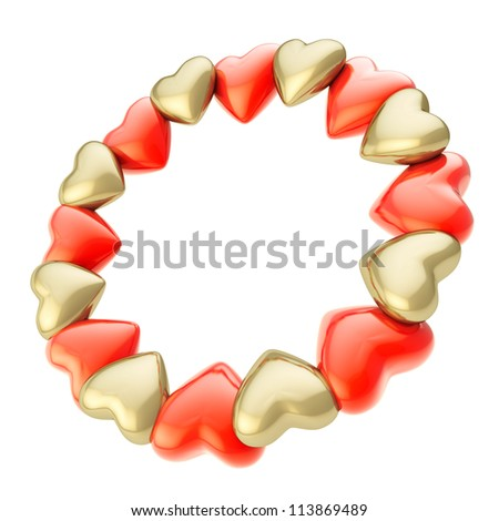 Lovely round photo picture  circle frame made of cute red and golden glossy hearts isolated on white background