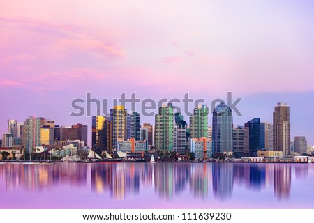 Lovely San Diego skyline at sunset