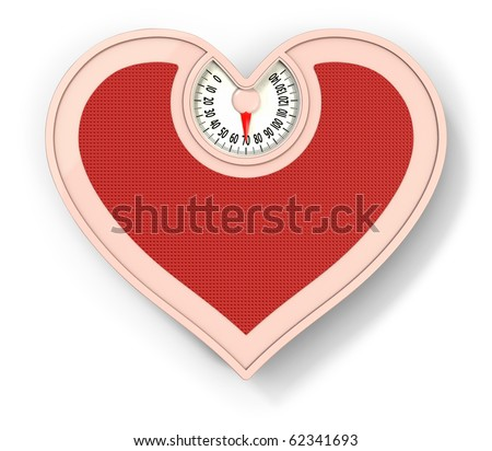 Lovely scale, diet concept, heart shaped scale