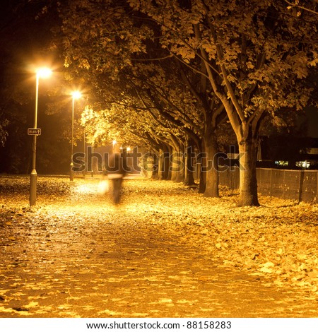 Lovely square image of a blurred person waling along a path at night with autumn leaves