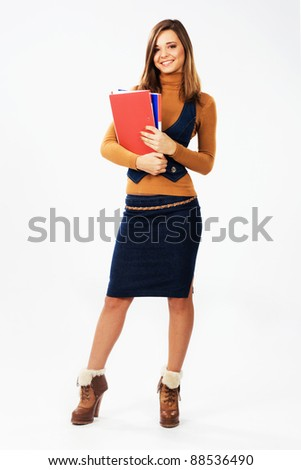 Lovely student girl with documents and folders