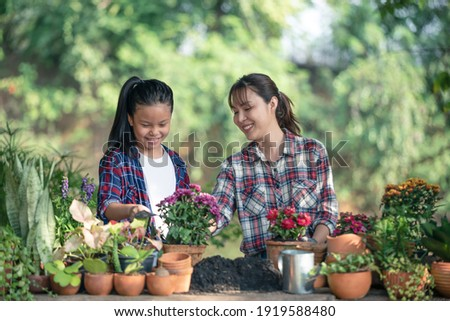Lovely teenage girl helps her mother pant the flower. Mom and her daughter engaged in gardening near window at home in weekend. Family having a happy time doing thing together. Foto stock ©
