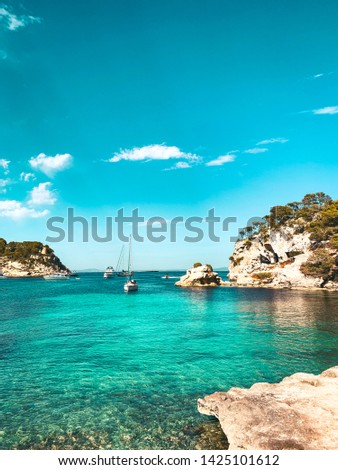 Lovely turquoise water beaches and coastline view on a summer vacation day with colorful sunset mood. Cala Portals Vells, Mallorca, Spain, Balearic Islands