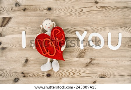 Lovely Valentines Day handmade decoration. Valentine card concept. I Love You