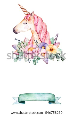 Lovely watercolor card with place for text with peony,flowers,foliage,succulent plant,branche,cute unicorn and ribbon.Handpainted illustration.Perfect for greeting and Birthday card,wedding,invitation