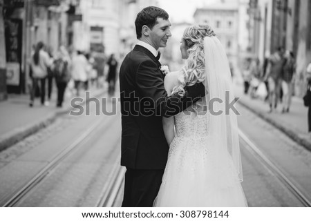 lovely wedding couple walking on their wedding day