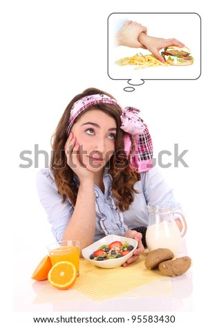 lovely woman eating healthy food