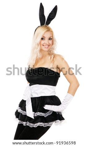 Lovely woman in rabbit costume, white background