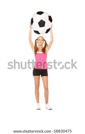 lovely woman with big soccer ball over white