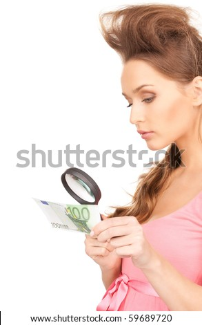 lovely woman with magnifying glass and money