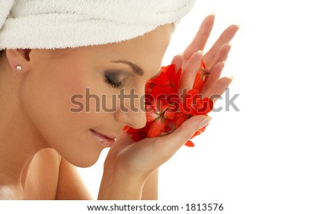 lovely woman with red flower petals