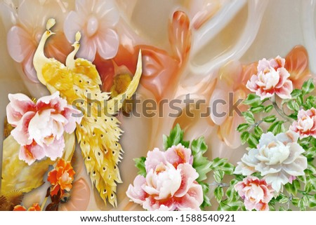 Lovely yellow pearl peacock next to pearl flower with range pearl flower background for wall, receptionist backdrop, or TV backdrop decoration. 3D rendering