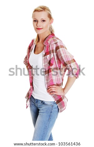 Lovely young blond woman in casual clothing, isolated on white background - stock photo