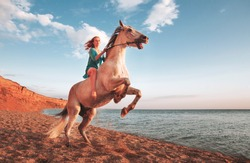 lovely young girl on horseback rears on the background of an empty beach at sunset time