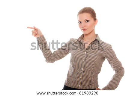 lovely young woman showing something isolated white background
