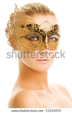 Stock Photo Lovely young woman with carnival mask on her face