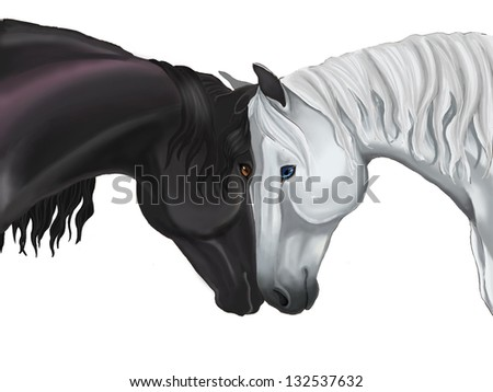 Lover Couple white and black horse sharing their love with head contact in white isolated background drawing