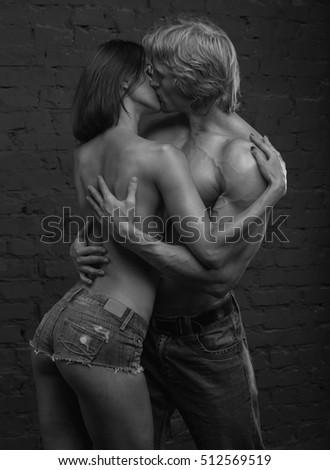 Sexy passionate kiss