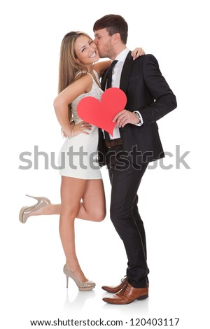Lover showing affection for lady. Isolated on white